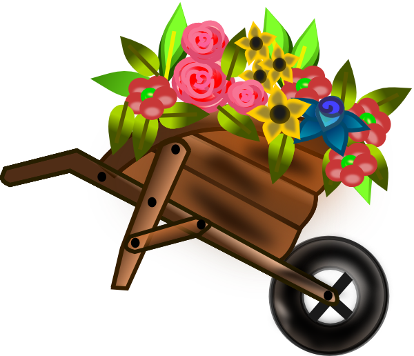 clipart freeuse library Flower clip art at. Wheelbarrow clipart