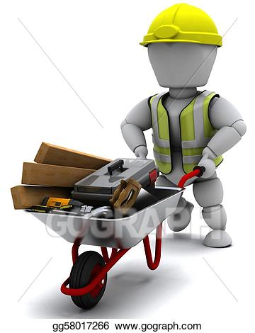 jpg free library Builder with a wheel. Wheelbarrow clipart construction worker tool