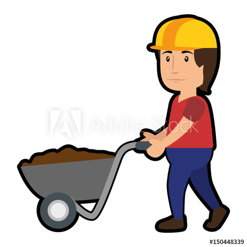 clip art royalty free library Wheelbarrow clipart construction worker tool. With cartoon icon over