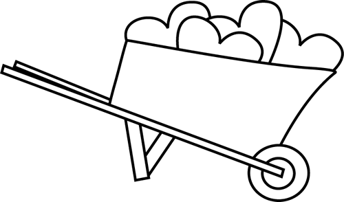 jpg stock Black and white of. Wheelbarrow clipart filled