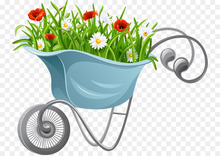 graphic transparent download Wheelbarrow clipart flower plant. Background garden illustration