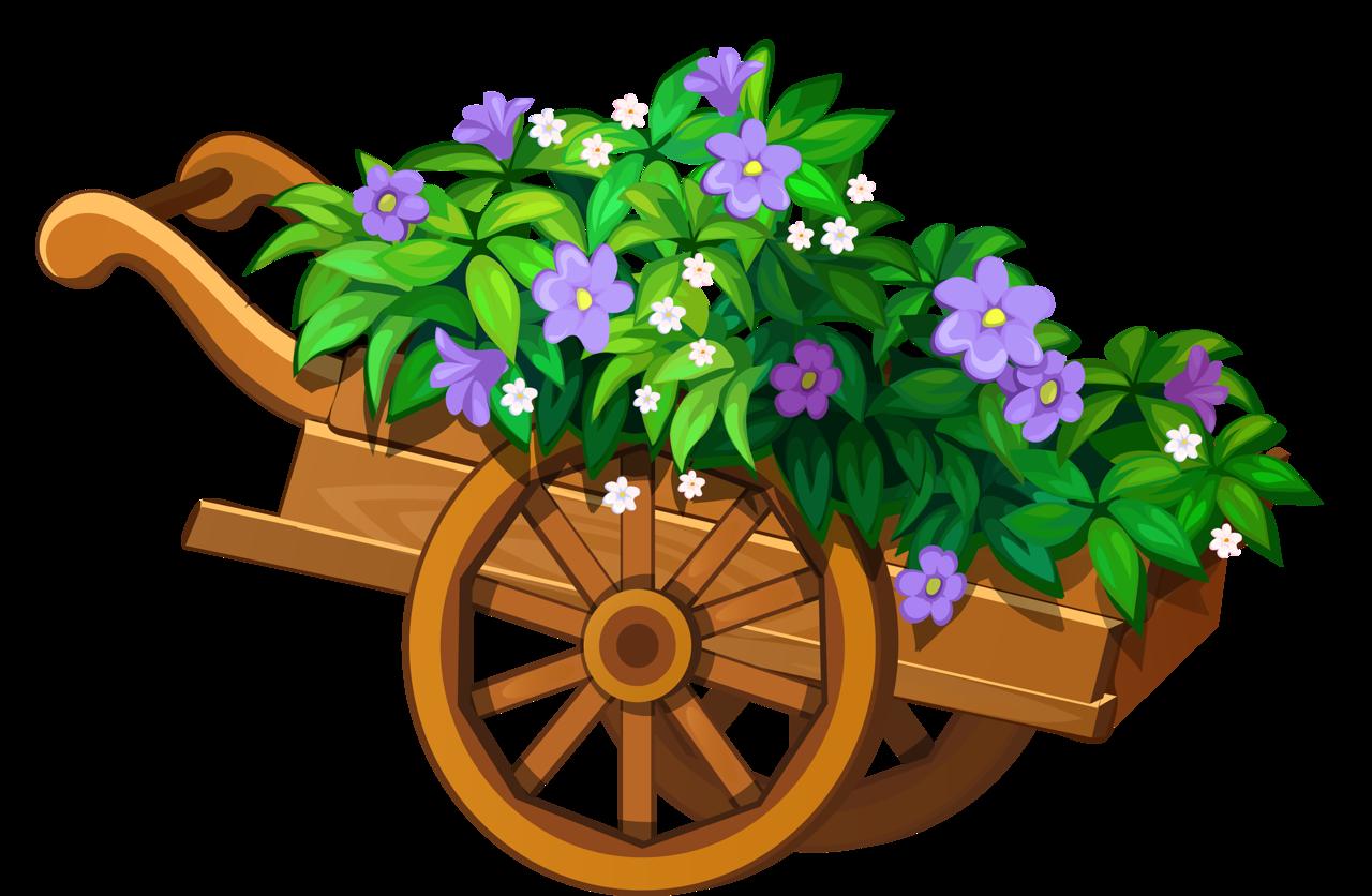 vector freeuse  soloveika my cute. Wheelbarrow clipart flower plant