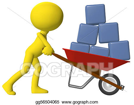clipart freeuse library Stock illustration person moving. Wheelbarrow clipart red object.