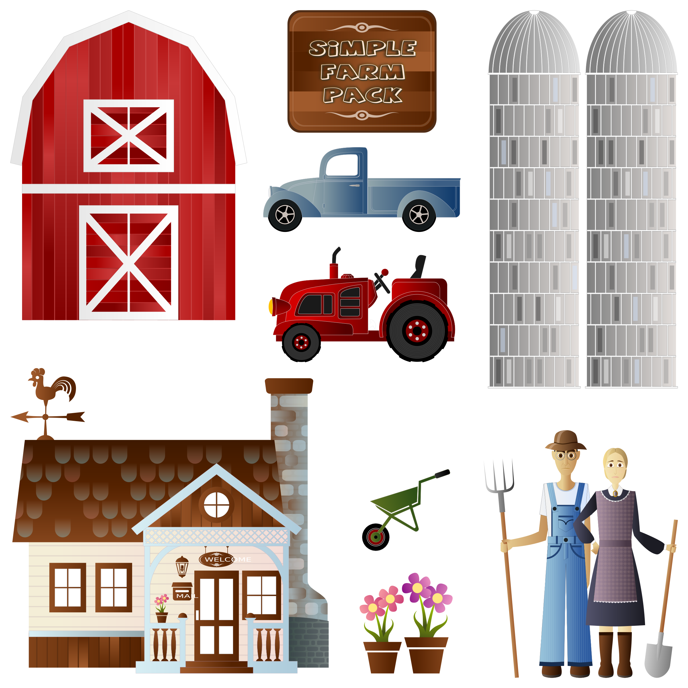 clip library stock Wheelbarrow clipart red object. Simple farm pack big