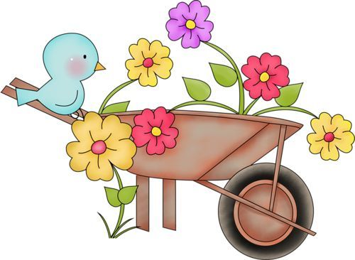 clipart freeuse library Pin on clip art. Wheelbarrow clipart spring flower