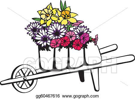 royalty free library Vector full of flowers. Wheelbarrow clipart spring flower