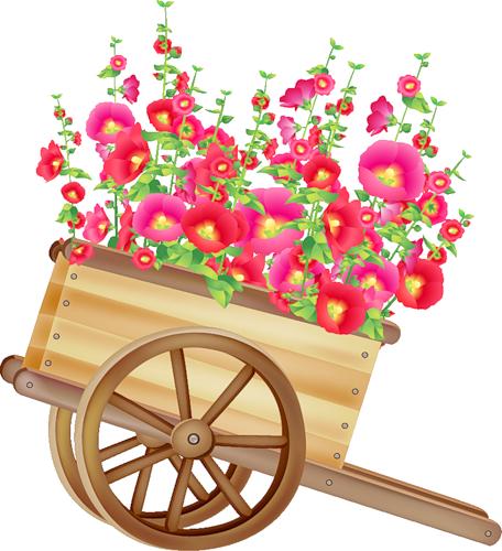 image royalty free  ca d e. Wheelbarrow clipart spring flower