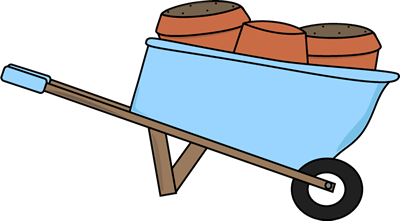 graphic transparent library Wheelbarrow clipart spring flower. Filled with pots clip