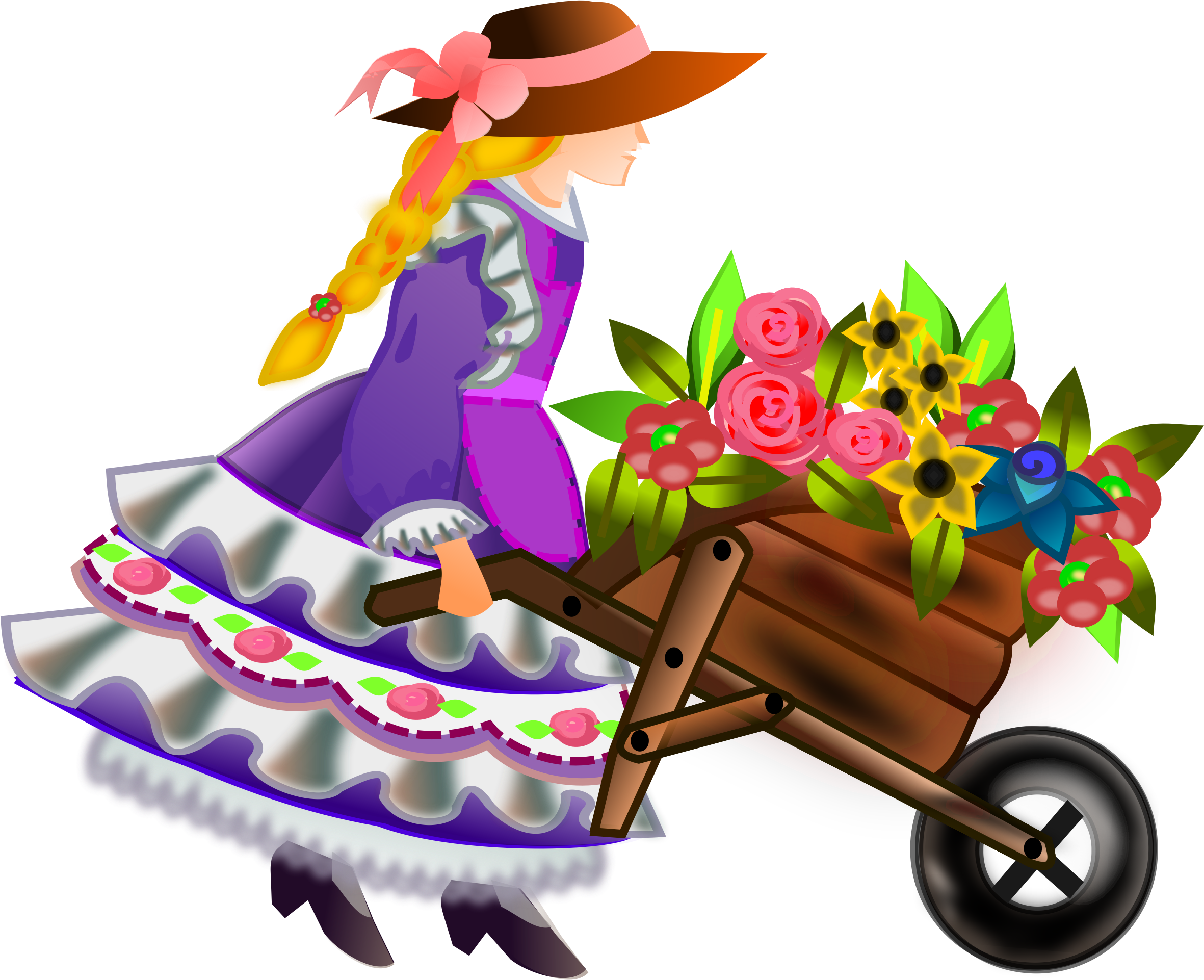 clipart library stock With flowers big image. Wheelbarrow clipart spring flower