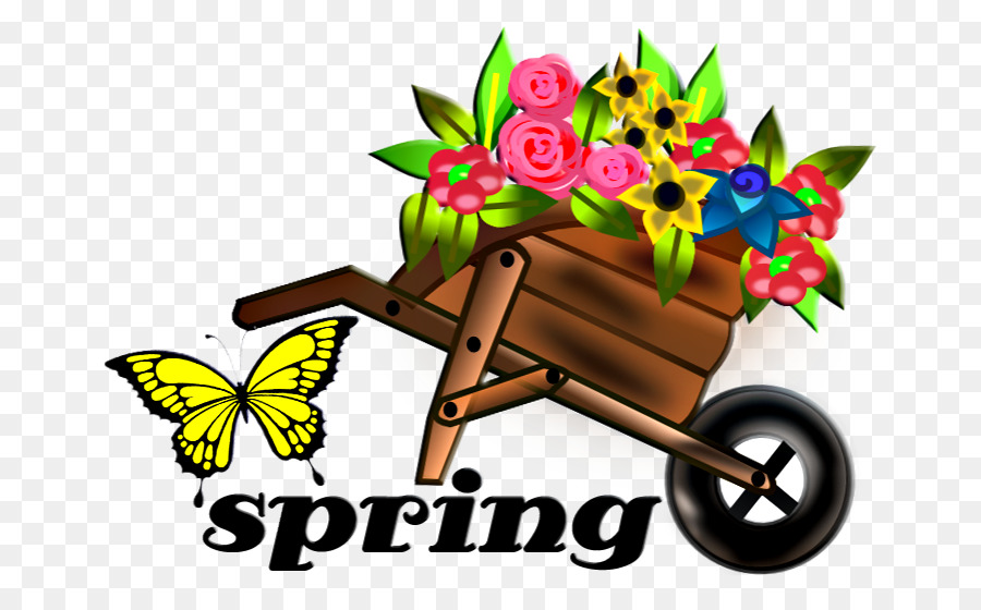 clipart black and white library Wheelbarrow clipart spring flower. Background png download free