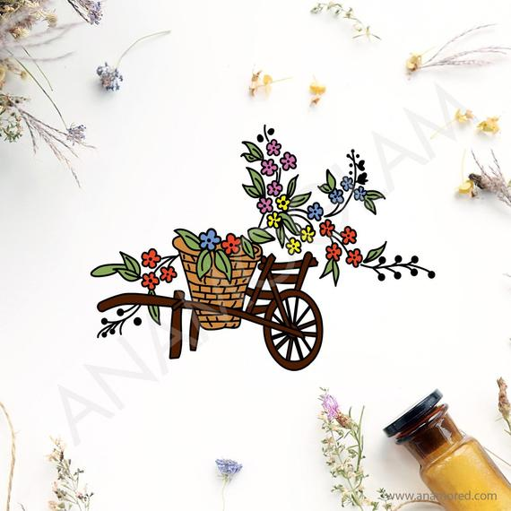 picture free download With basket and flowers. Wheelbarrow clipart spring flower