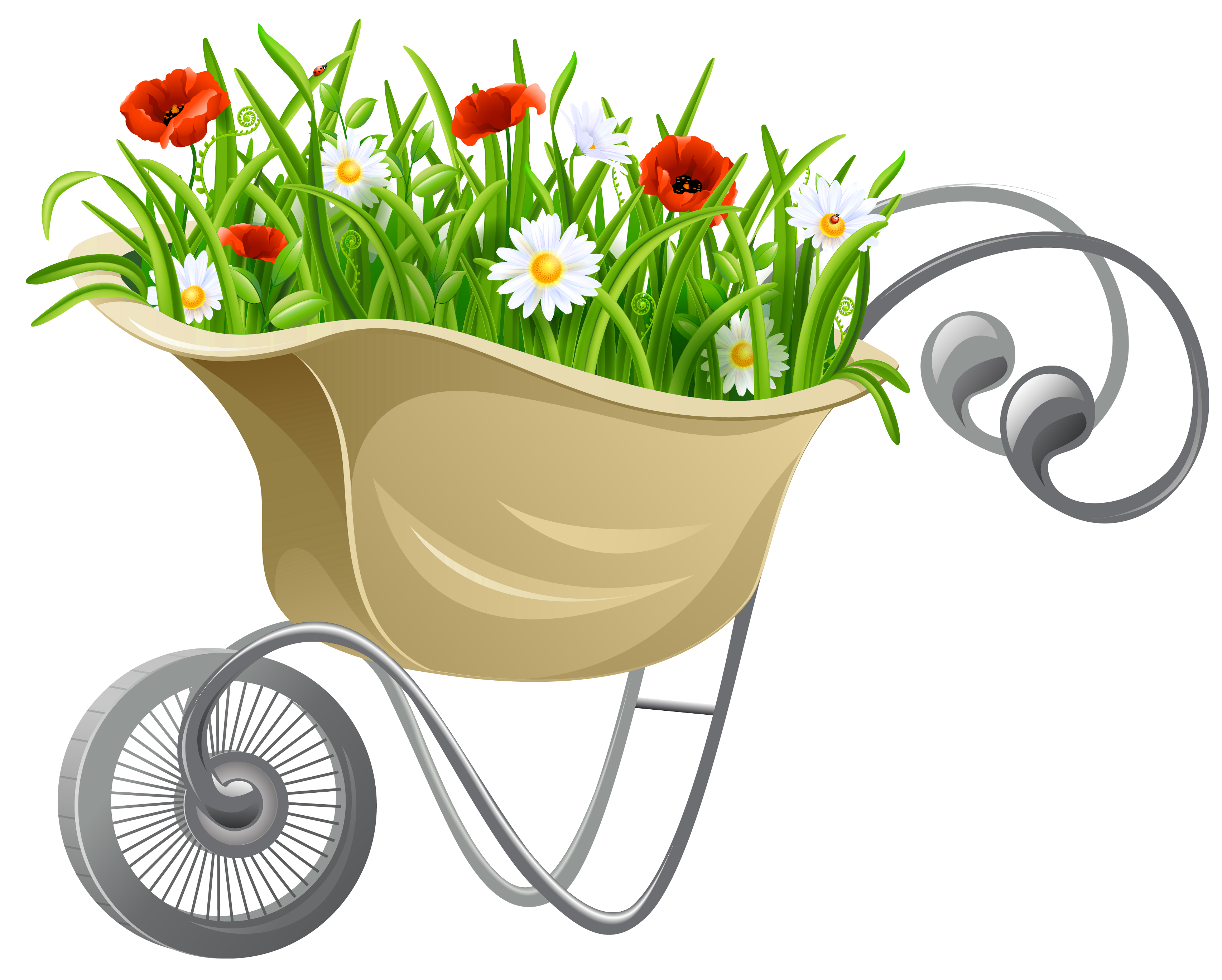 svg download Wheelbarrow clipart transparent background. With flowers png gallery