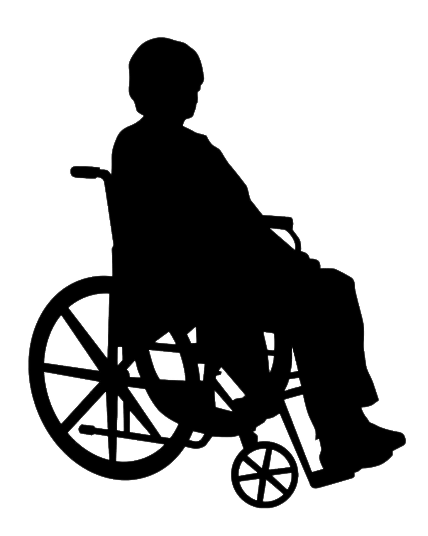 clip art royalty free stock Lady In Wheelchair Silhouette transparent PNG