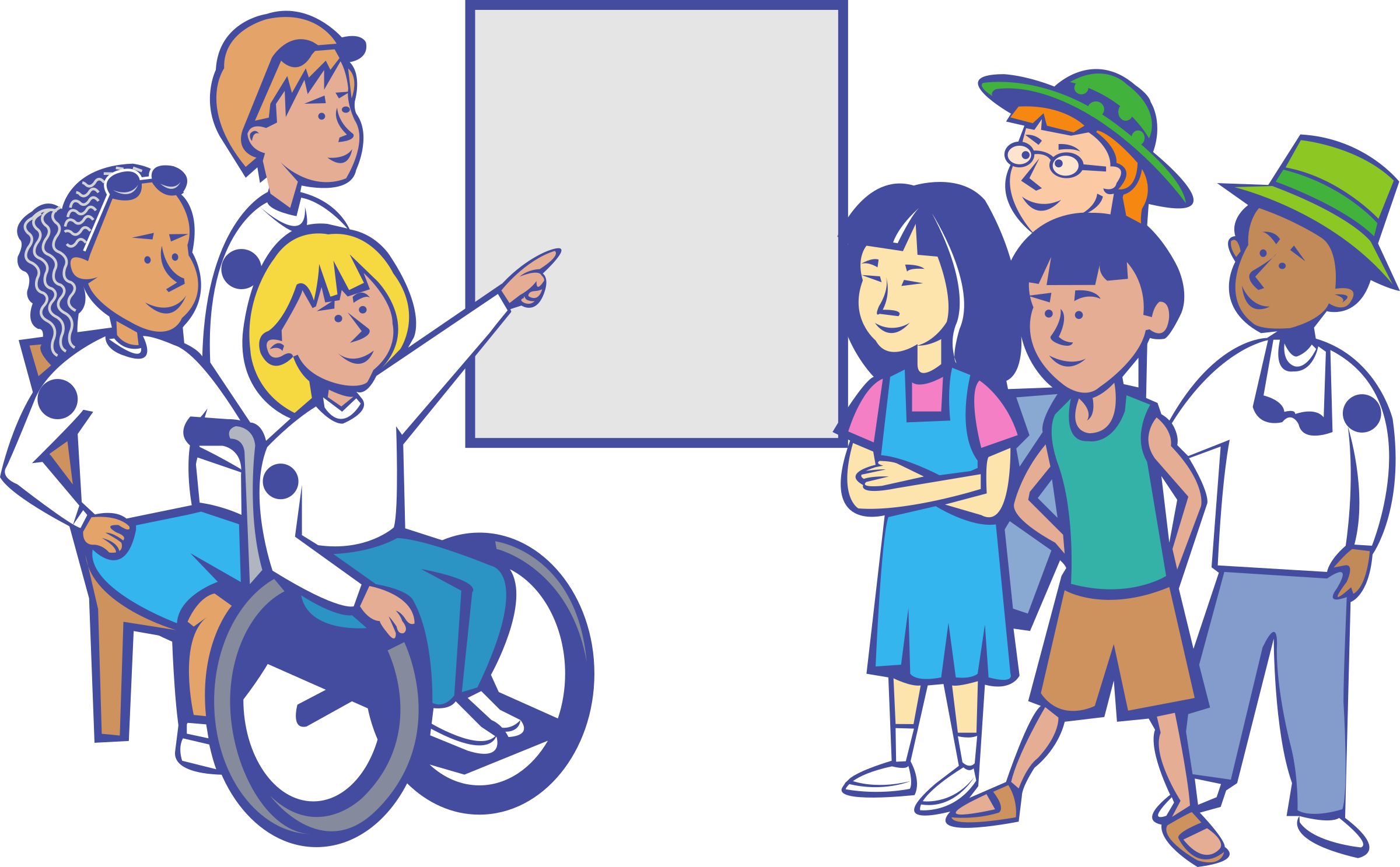 banner black and white In a classroom big. Wheelchair kids clipart