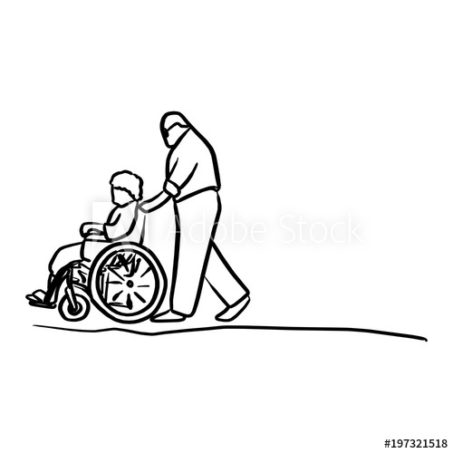 graphic transparent download Wheelchair vector black and white. Old man helping his.