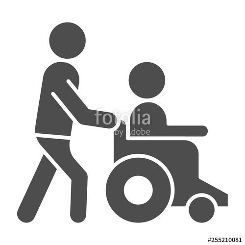 image royalty free Wheelchair vector black and white. Help disabled solid icon.