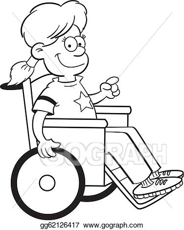 image transparent Clipart girl in a. Wheelchair vector black and white.