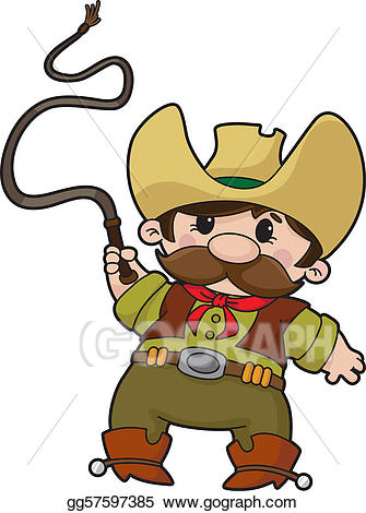 clipart freeuse library Vector art with drawing. Whip clipart cowboy