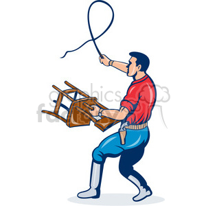 picture black and white Holding chair with a. Whip clipart man