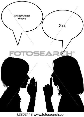image freeuse stock Shh silhouette women tell. Whisper clipart lady
