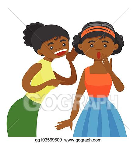 picture black and white stock Vector young african woman. Whisper clipart rumor