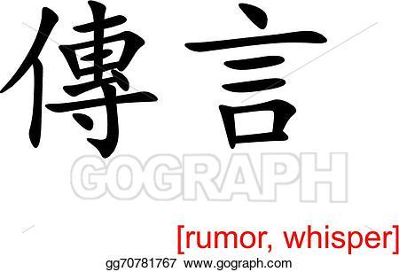 jpg black and white Vector art chinese sign. Whisper clipart rumor