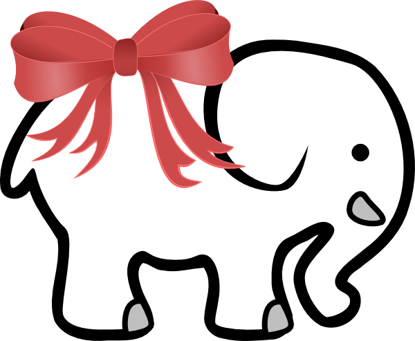 black and white download White Elephant With Red Bow Clip Art at Clker