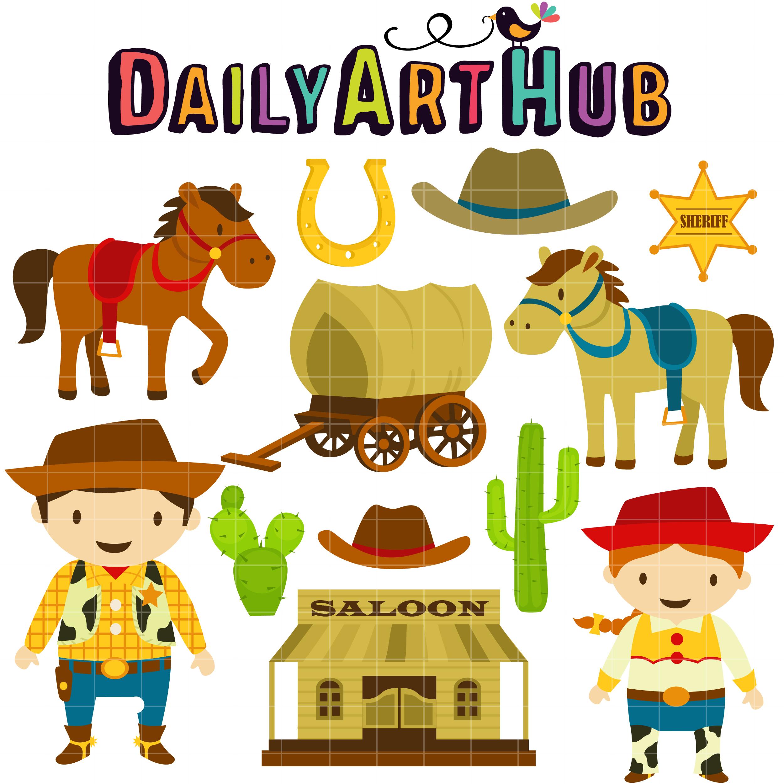 clip transparent stock Cowboy clip art set. Wild west clipart.