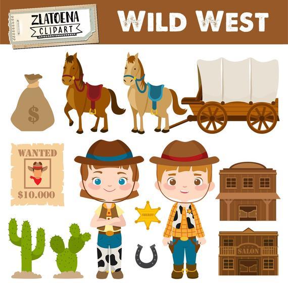 vector transparent Digital cowboy clip art. Wild west clipart.