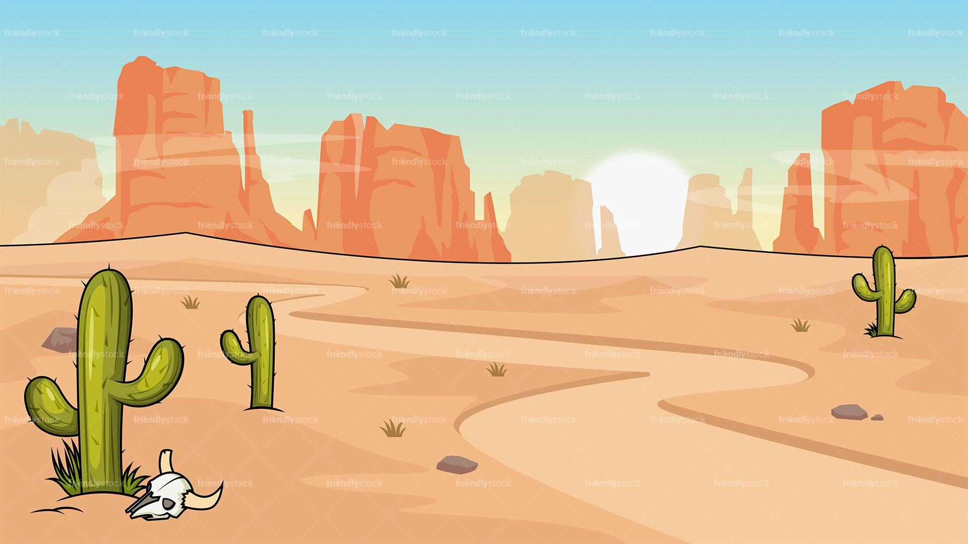 graphic royalty free Wild west desert background. Western scenery clipart
