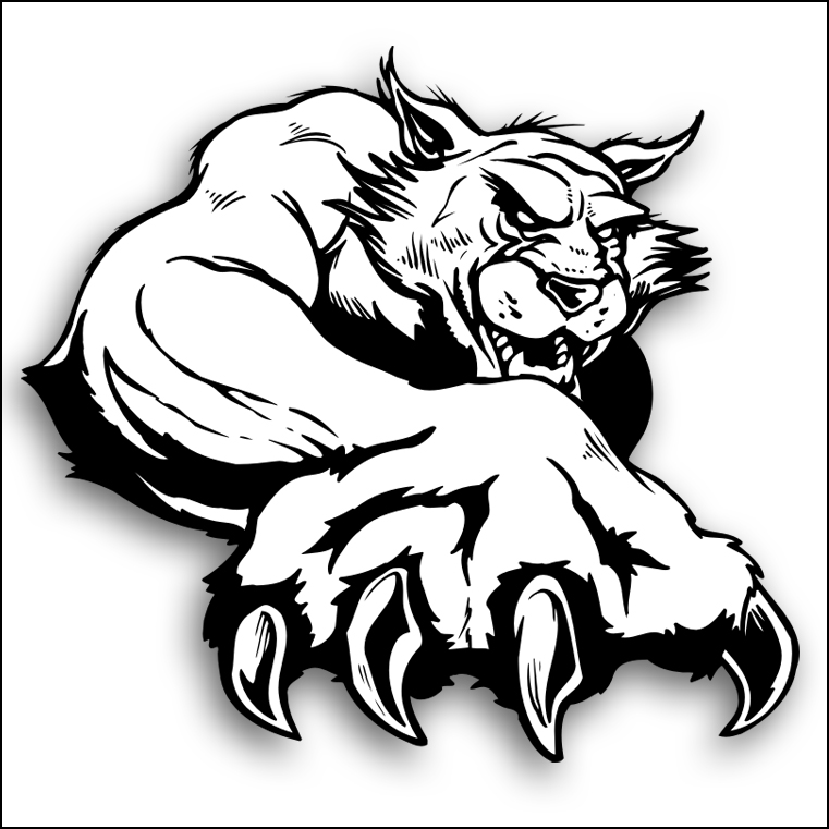 svg black and white download Wildcats drawing. Free wildcat paw download