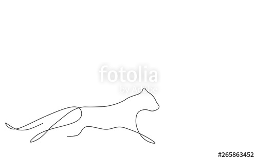svg freeuse stock Panther line drawing illustration. Wildcat vector silhouette