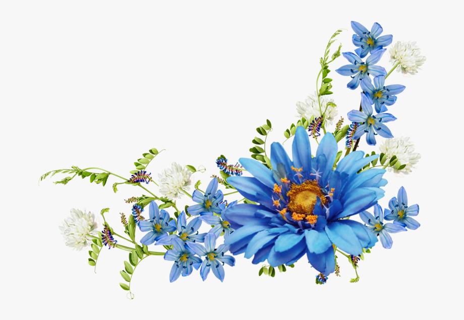 vector freeuse stock Wildflower clipart corner border flower. Blue vintage