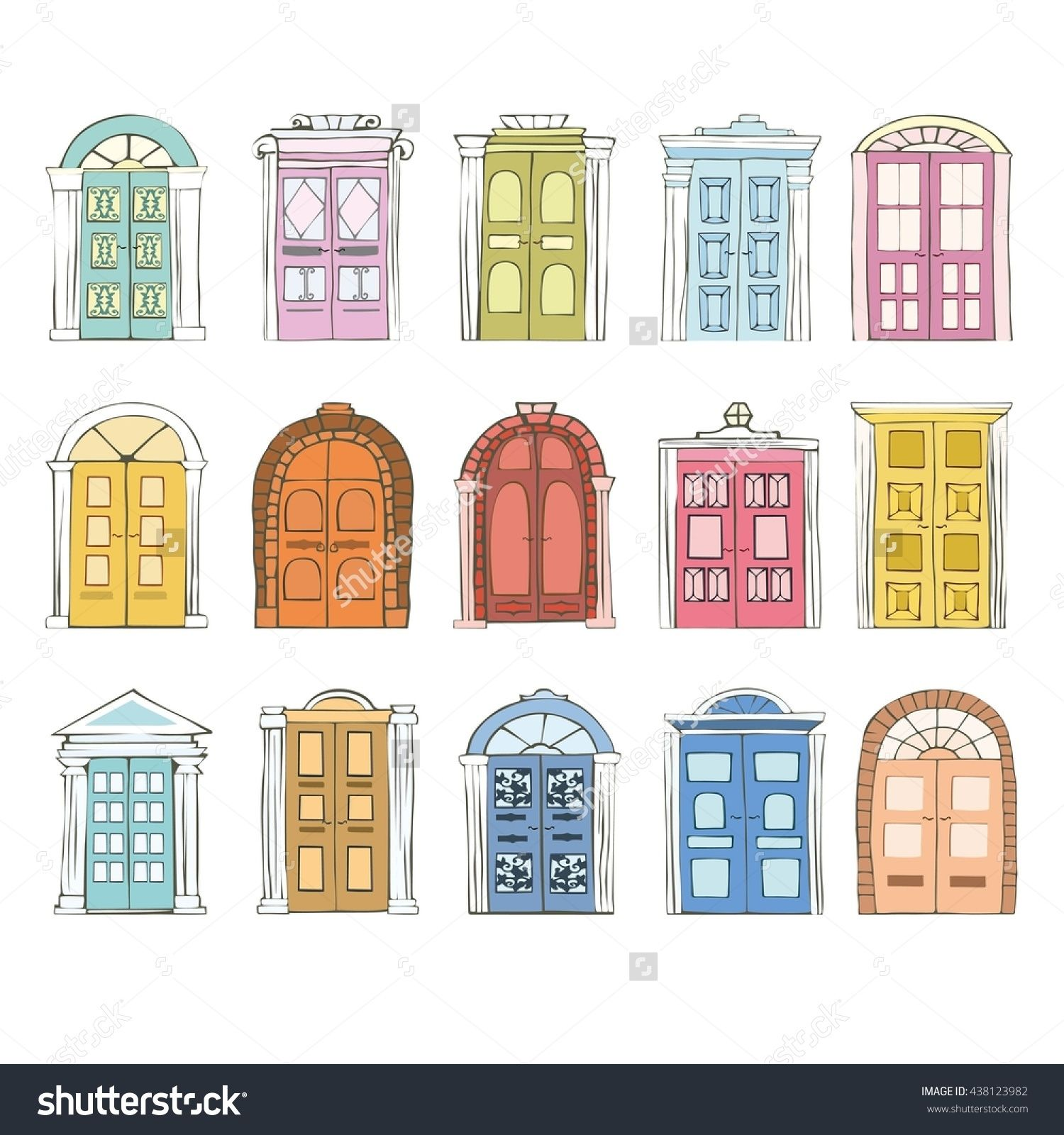 svg library stock Vector door hand drawn. Pin on buildingd