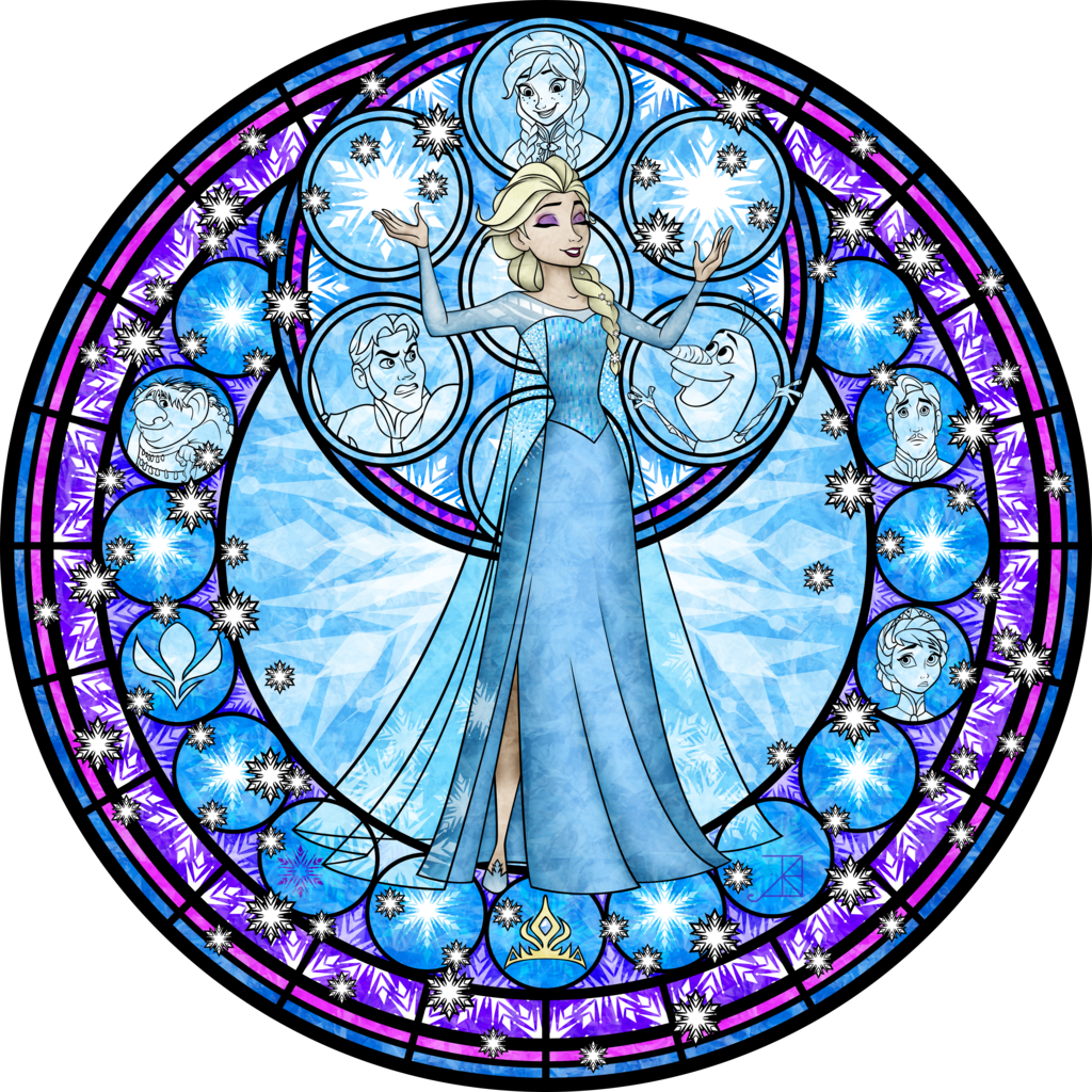 banner free library Elsa Stained Glass Vector by Akili
