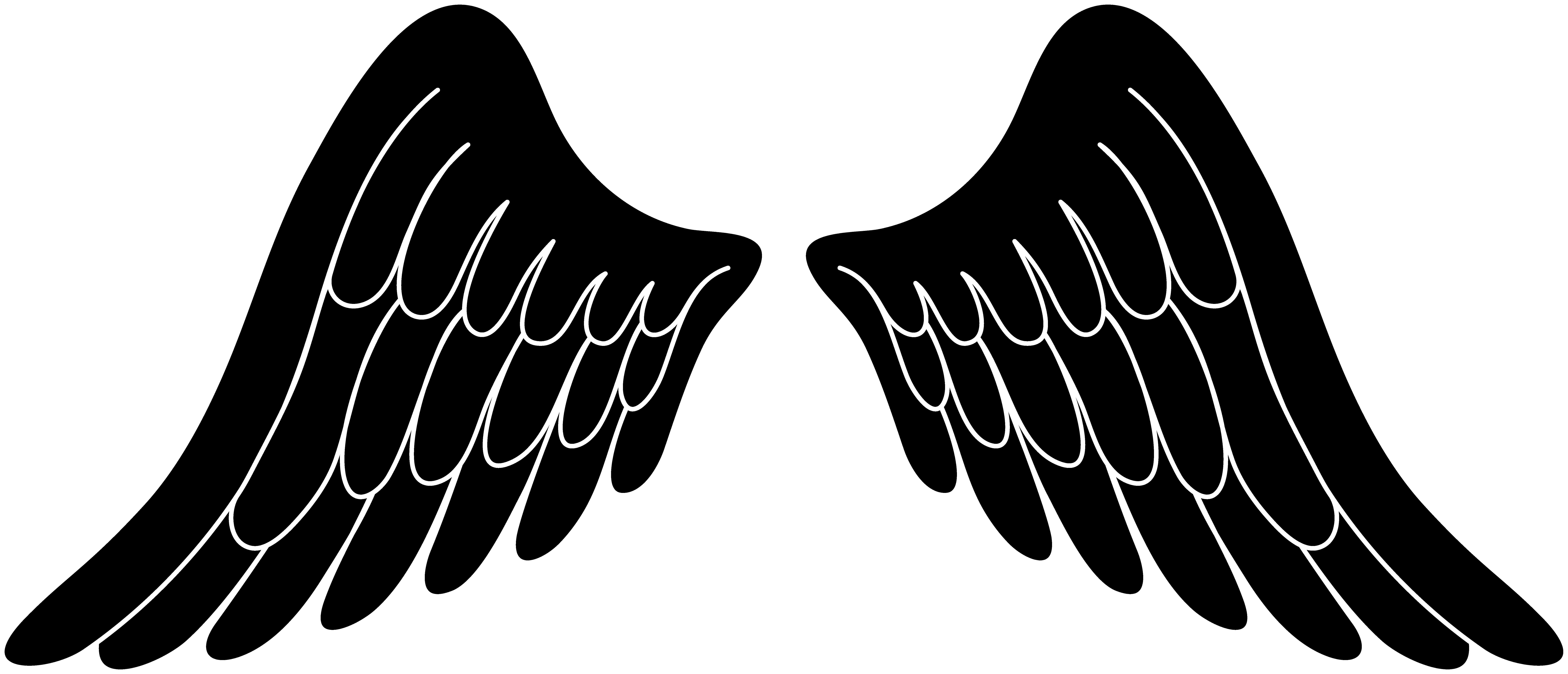 clipart black and white library Black Angel Wings Clipart