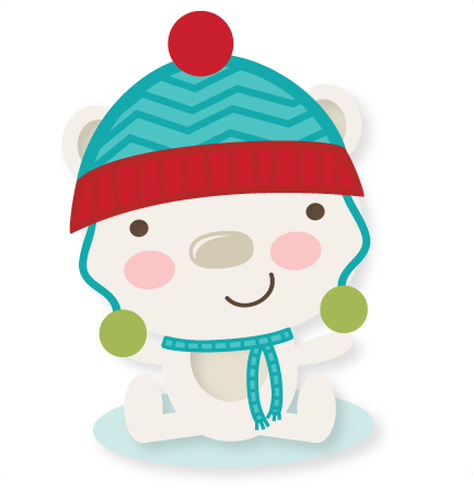 royalty free Winter bear clipart. Svg cutting file cuts