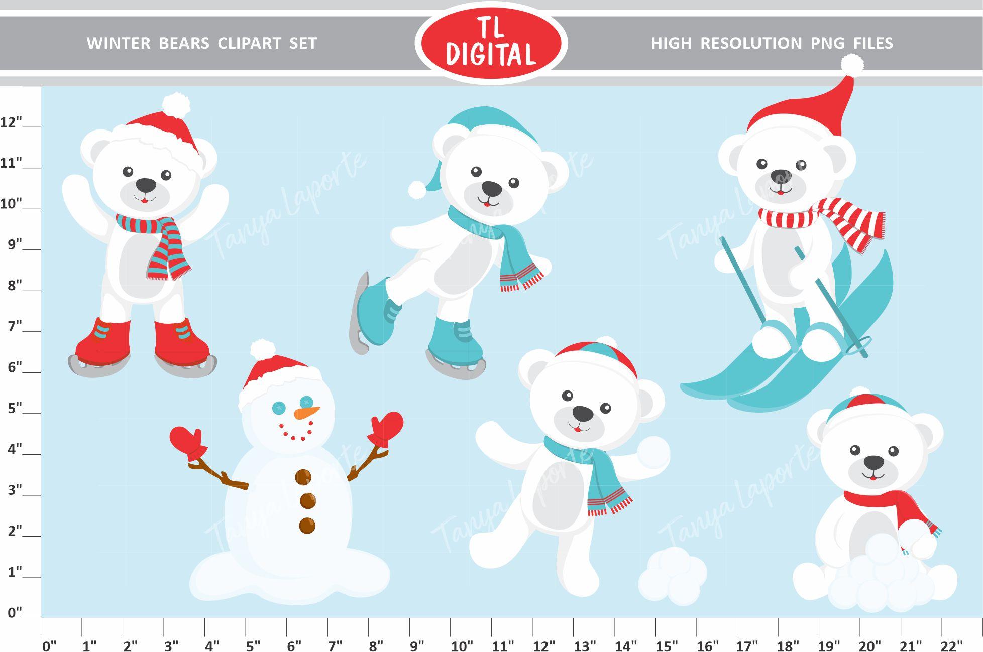 vector library Bears set christmas graphics. Winter bear clipart