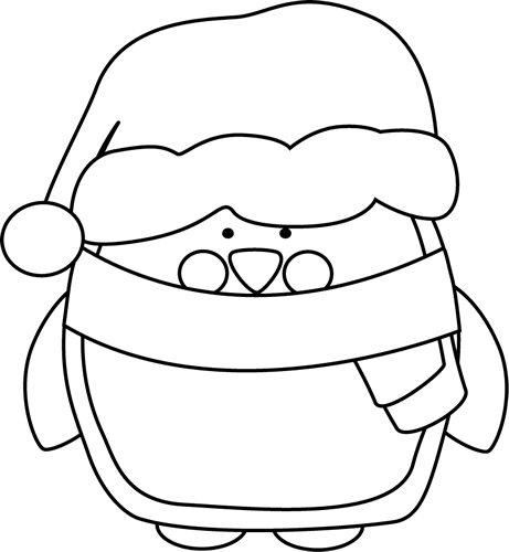 jpg stock Black and White Christmas Penguin Clip Art