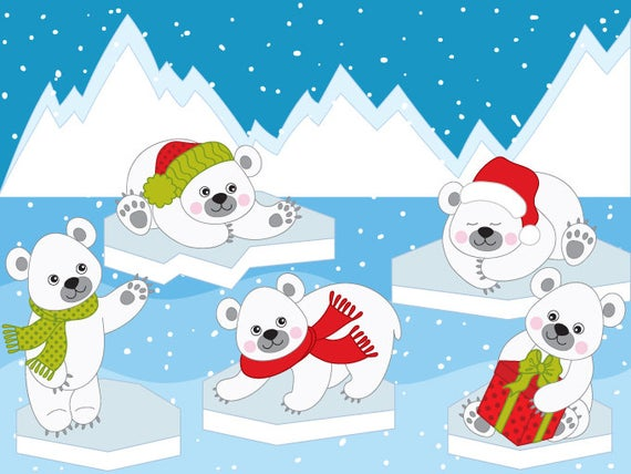 banner transparent Winter polar bear clipart. Bears digital vector arctic