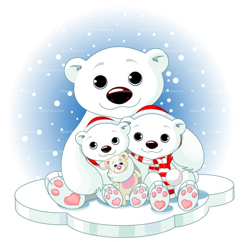 vector black and white Winter polar bear clipart. Free cliparts download clip