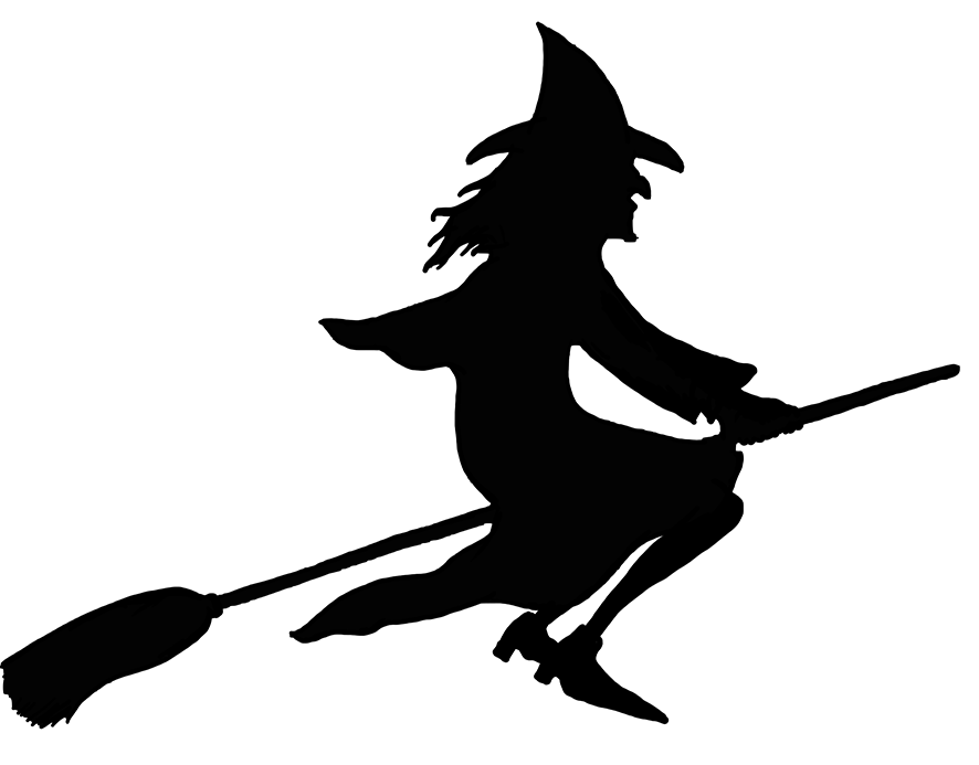 banner black and white download Witch on broom clipart. Broomstick silhouette at getdrawings.