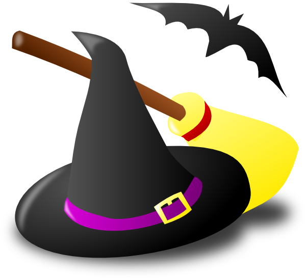 svg royalty free library Hat bat clip art. Witch broom clipart