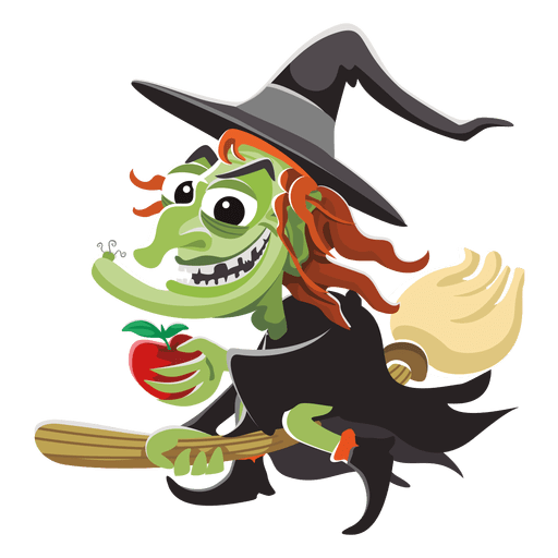 banner free library Witch cartoon on broom