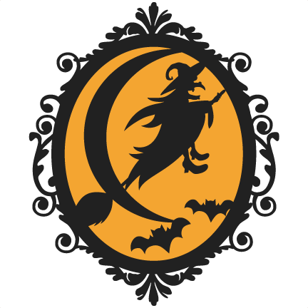 svg library stock Halloween frame scrapbook cut. Witch svg west