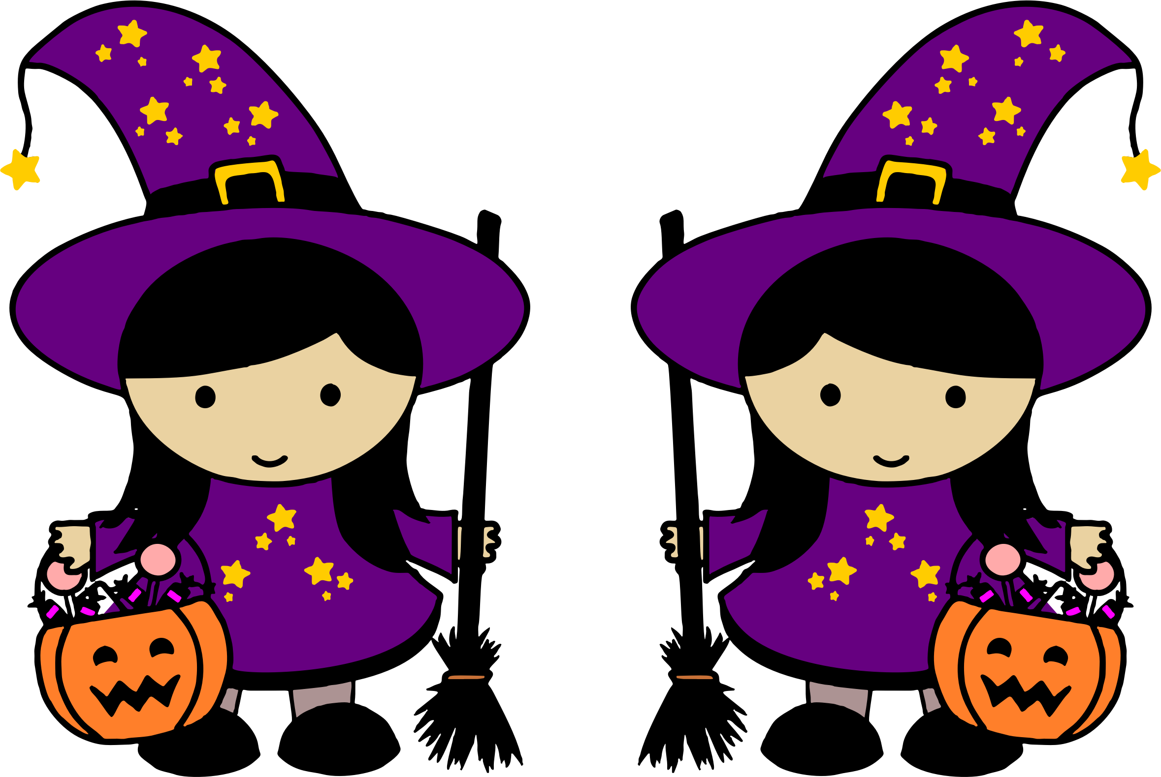 royalty free library Twin halloween big image. Witches clipart