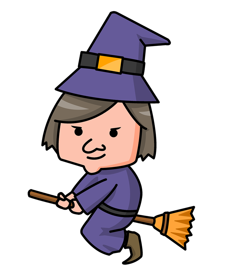 jpg black and white library Witches clipart. Witch cartoon