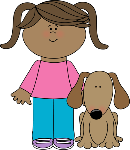 picture transparent Kid walking clipart. Girl with puppy