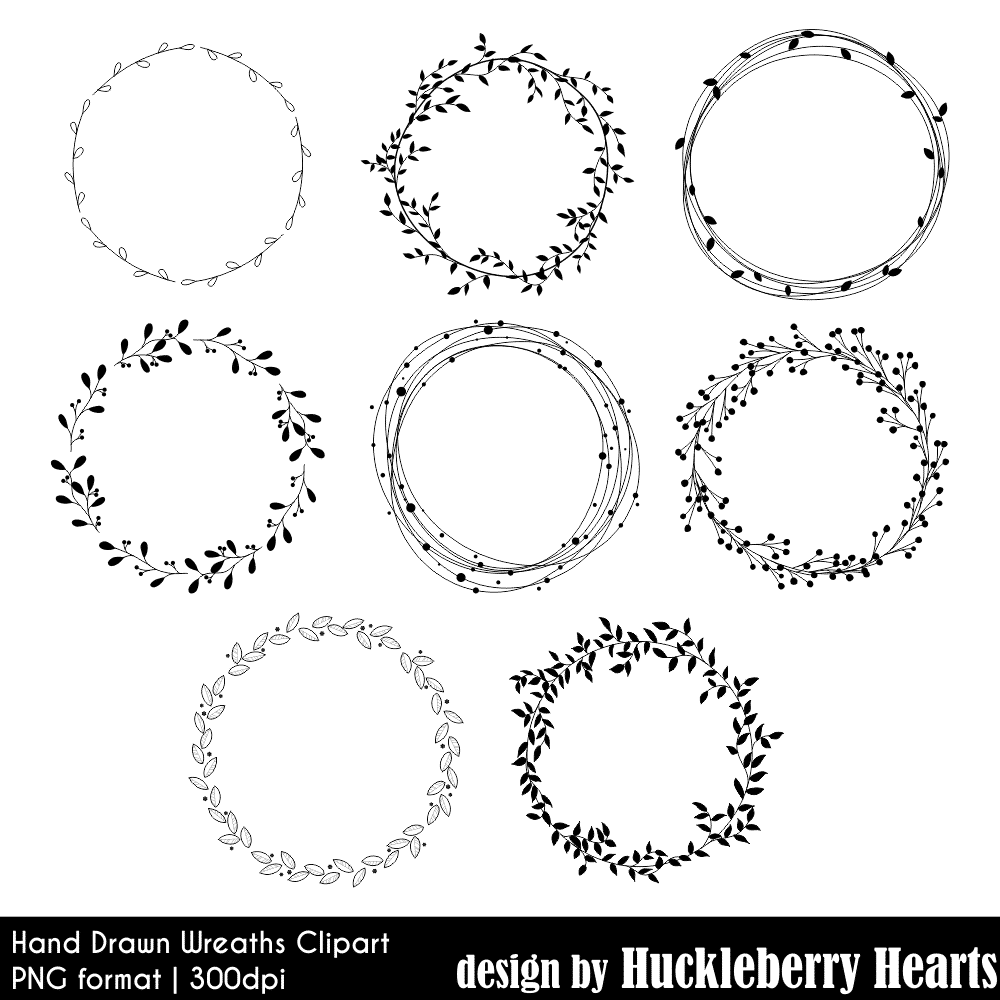 image freeuse Clipart wreath. Hand drawn