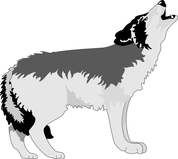 vector black and white Howling Black And Gray Wolf Clip Art at Clker